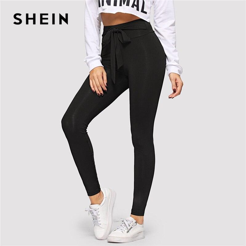 SHEIN Black Tie Waist Drawstring Solid Skinny Leggings Women 2019 Spring Active Wear Leisure Casual Workout Leggings