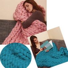 Fashion Hand Chunky Wool Knitted Blanket Thick Yarn Merino Wool Bulky Knitting Throw Blankets Drop Shipping(China)