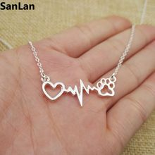 Beautifully Animal vintage jewelry love Cats and Dogs Paws and heart  Heartbeat necklace Paw necklaces & pendants dog SanLan