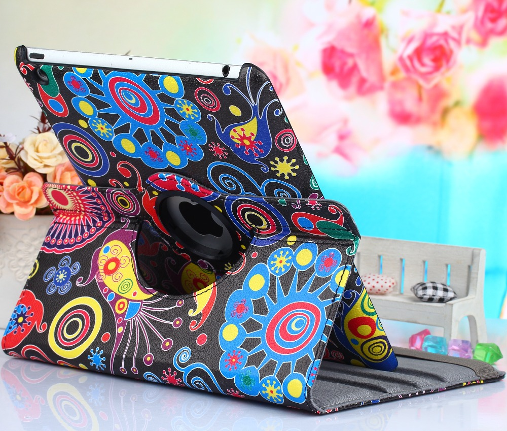 Kemile 360 Degree Rotating Coloured Drawing PU Leather Stand Screen Protector For ipad 2 Cover For ipad 3 Case For ipad 4 9.7