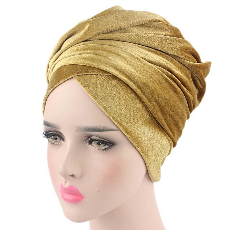 Head Women Velvet Turban Headband Wrap Hijab Extra Long Velvet Tube Head Wrap Sc