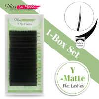 Miss La Mode mat ellipse extension de cils cils racines pointes fendues briquet cils ajustement Y mat plat cils 0.15 C/D curl
