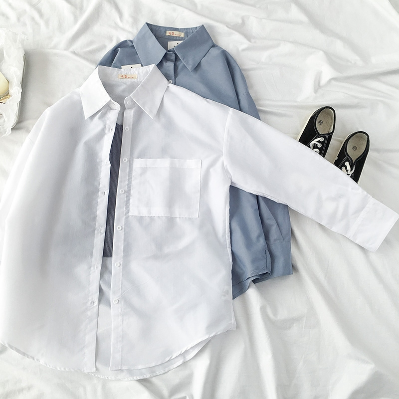 Spring and summer thin 2018 female solid long sleeve blouse shirt all-match student button pockets casual shirt