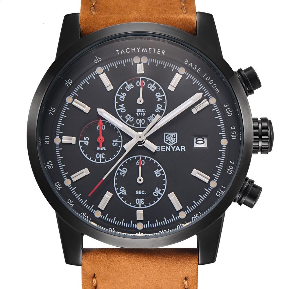 Prix pour BENYAR Hommes Montres Top Marque De Luxe Militaire Sport Montre-Bracelet Chronographe de Plongée Reloj Hombre Quartz Montre relogio masculino
