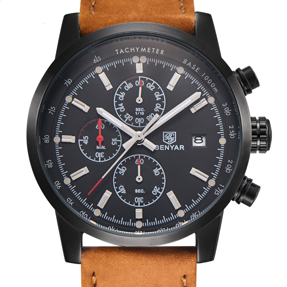 BENYAR Mens Watches Top Brand Luxury Military Sport Wristwatch Chronograph Dive Reloj Hombre Quartz Watch relogio