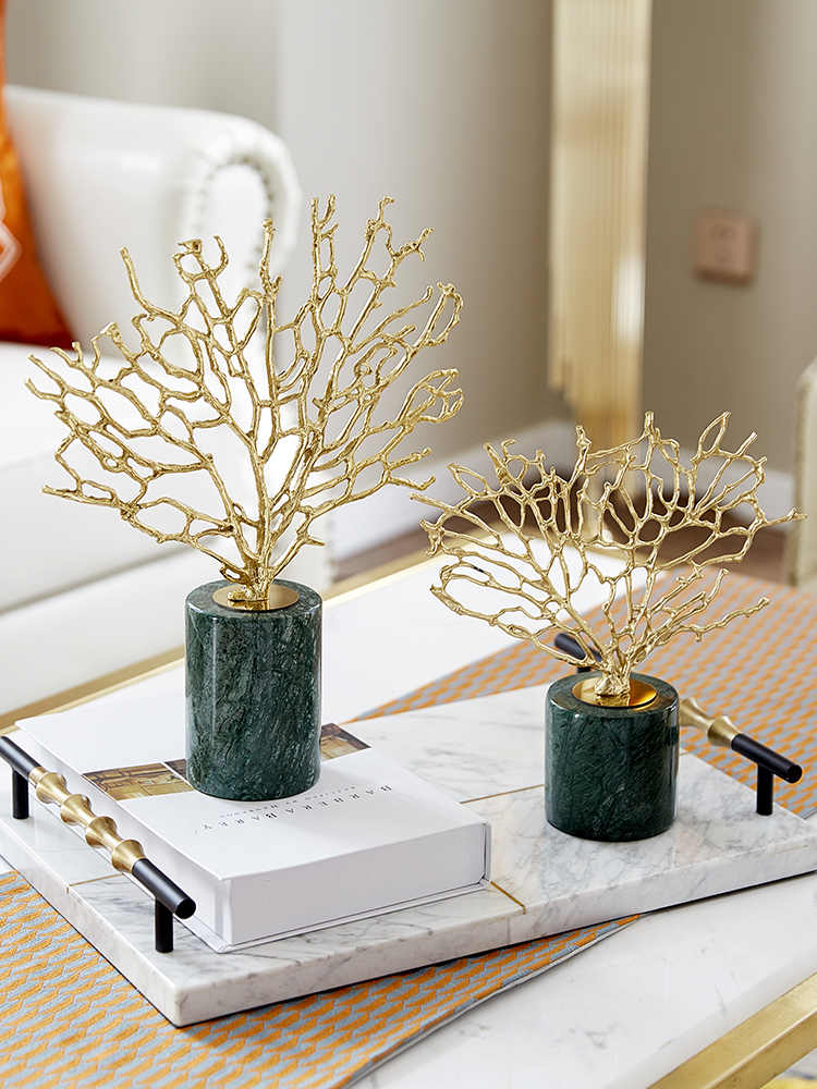 Modern Creative Copper Coral tree figurines home decor crafts room decoration office ornament study copper and marble statue