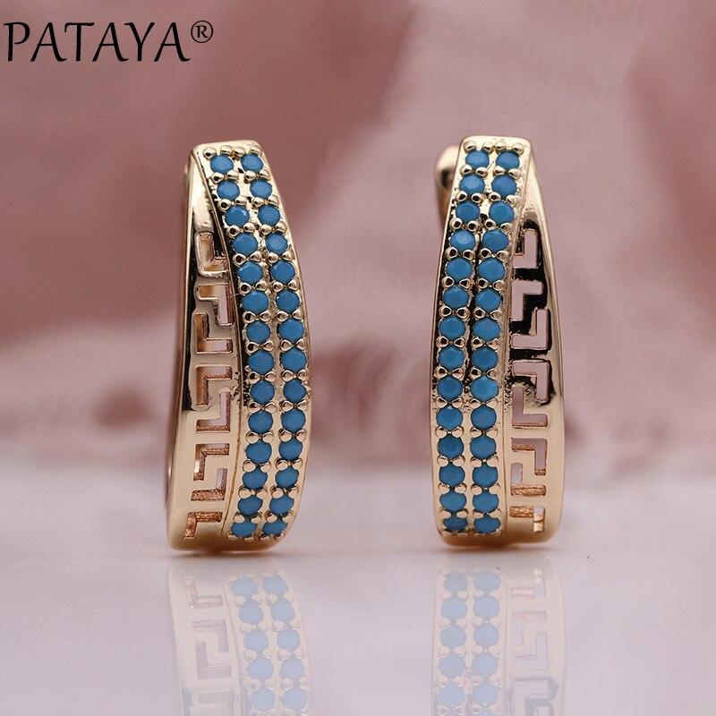 PATAYA nouvelle mode 585 Rose or bleu Zircon naturel boucles d'oreilles femmes irrégulière boucle d'oreille creux Fine multicolore mignon bijoux