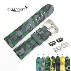 CARLYWET 22 24 мм Камуфляж серый светло-зеленый черный Водонепроницаемый силиконовой резины замены часы Группа ремешок для Panerai Luminor