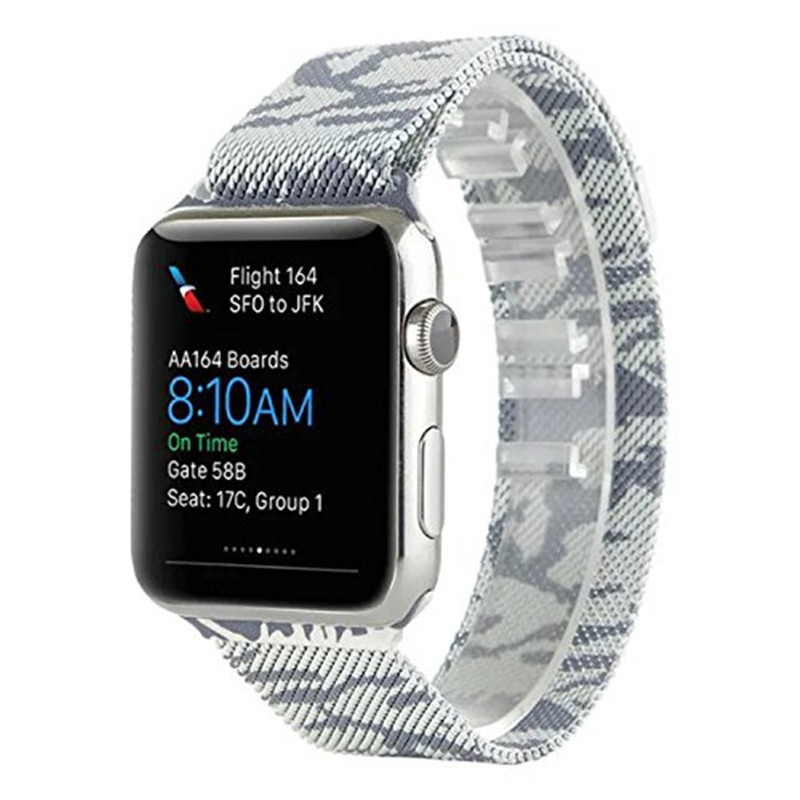 Kopeck Camouflage Milanese Loop Mesh Stainless Steel Strap for Apple Watch Band Magnetic Clasp Bracelet Replacement Wrist Strap crested milanese loop strap metal frame for fitbit blaze stainless steel watch band magnetic lock bracelet wristwatch bracelet