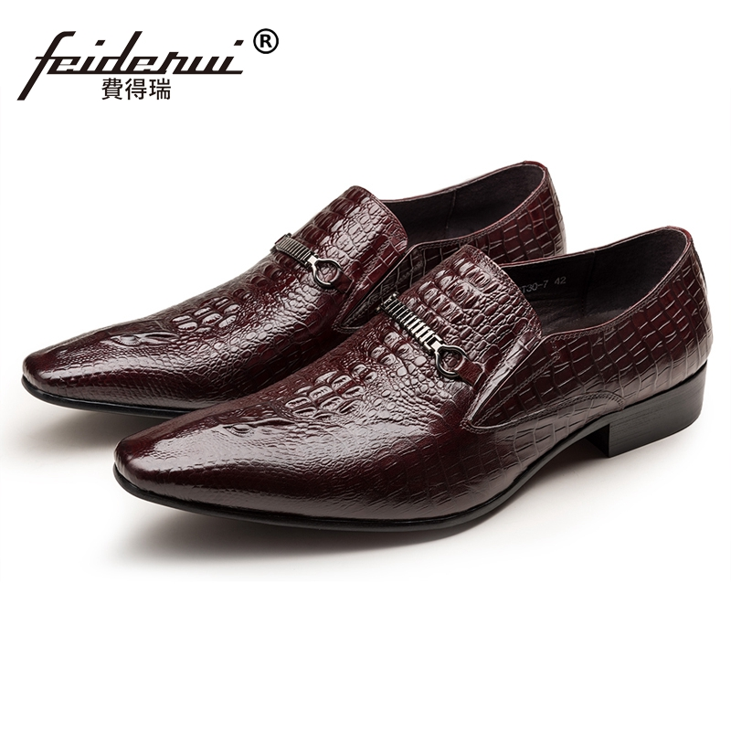 2018 Luxury Brand Man Alligator Pattern Formal Dress Shoes Genuine Leather Pointed Toe Slip on Men's Wedding Party Loafers JS90 цена 2017