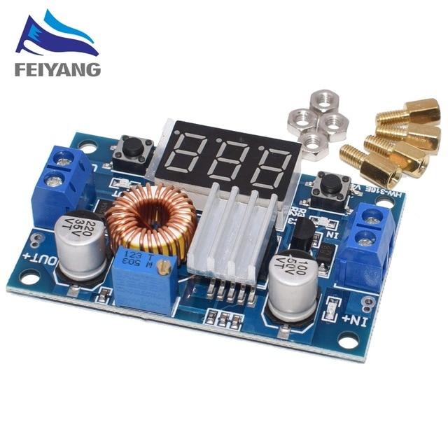 1 قطعة XL4015 5A عالية الطاقة 75 واط DC DC قابل للتعديل تنحى وحدة + LED الفولتميتر وحدة امدادات الطاقة