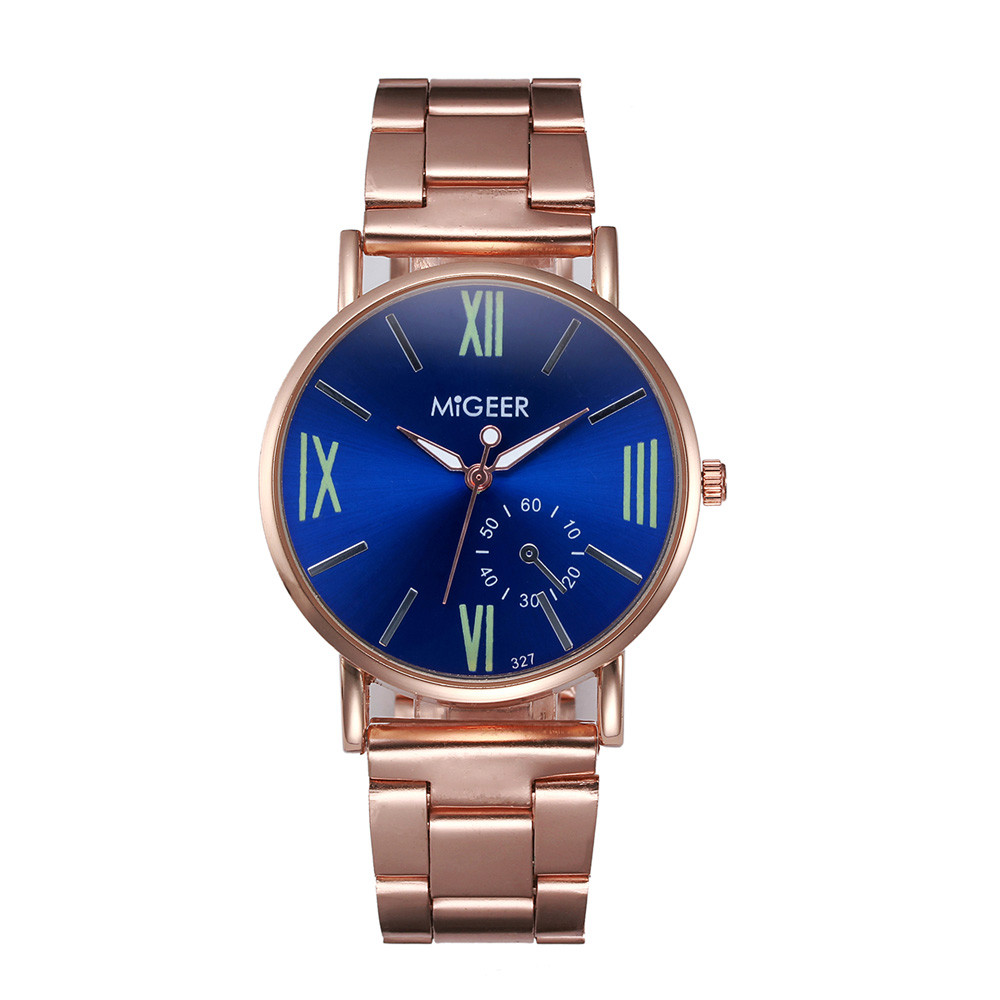 Фото 2017 MIGEER Quartz Watch Men Fashion Bracelet Rose Gold Color Stainless Steel band Roman number watches relogio masculino