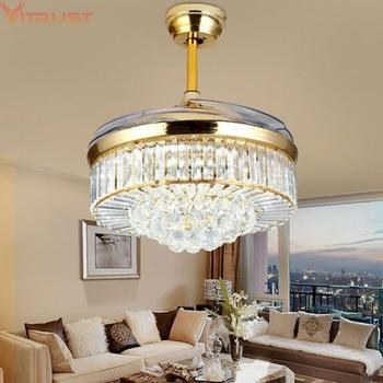 Crystal Ceiling Fan Lights Lamps Modern Folding Ceiling Fan Dining Living Room Bedroom Gold Crystal Lamp Fan Remote Control