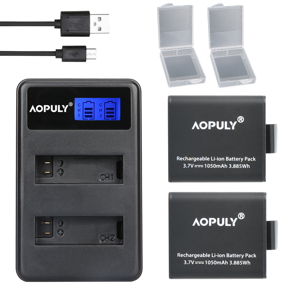 Hot 2x <font><b>PG1050</b></font> Rechargable Li-ion Camera Battery + LCD Dual Charger For EKEN H9 H9R H3 H3R H8PRO H8R H8 pro Sports Action Camera image