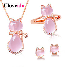 hot deal buy uloveido cute cat bridal jewelry sets animal pink opal jewelry set ring earrings and necklace rose gold color jewellery y427