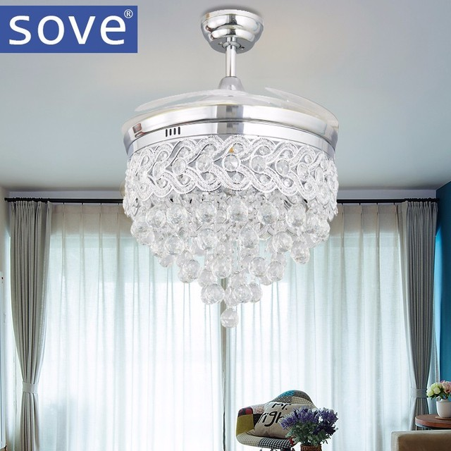 Modern led chrome crystal ceiling fan with lights bedroom living modern led chrome crystal ceiling fan with lights bedroom living room folding ceiling fan remote control aloadofball Images