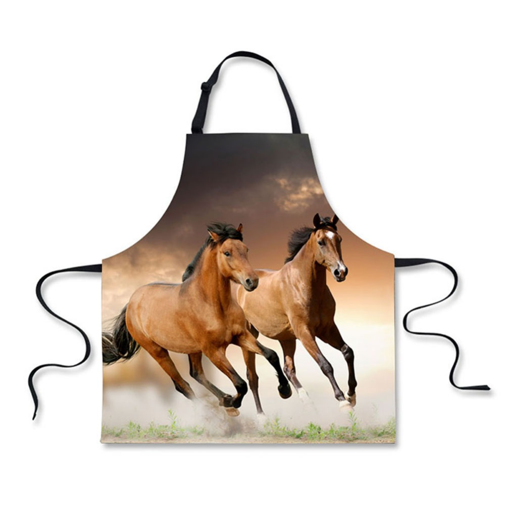 High quality 3D printing horse pattern home leisure fashion kitchen supplies aprons
