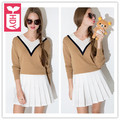 HDY College style New 2016 camel & White splicing V neck Knitting Long sleeve sweater womens Slim pullover clothing