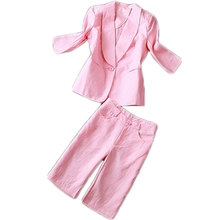 2016 Spring Autumn Women'S Fashion Linen Three Quarter Sleeve Small Suit Blazer Jacket And Capris Set White Pink Twinset S -XL