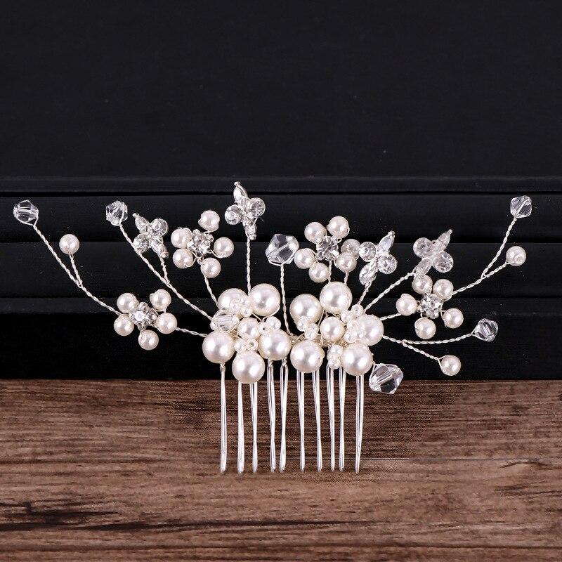 Silver Pearl Crystal Hair Combs (5)