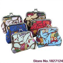 2016 Popular Style Women's Cute Multi-colors Owl Printed Coin Purse Wallet Canvas Pouch Money Bag BVM8