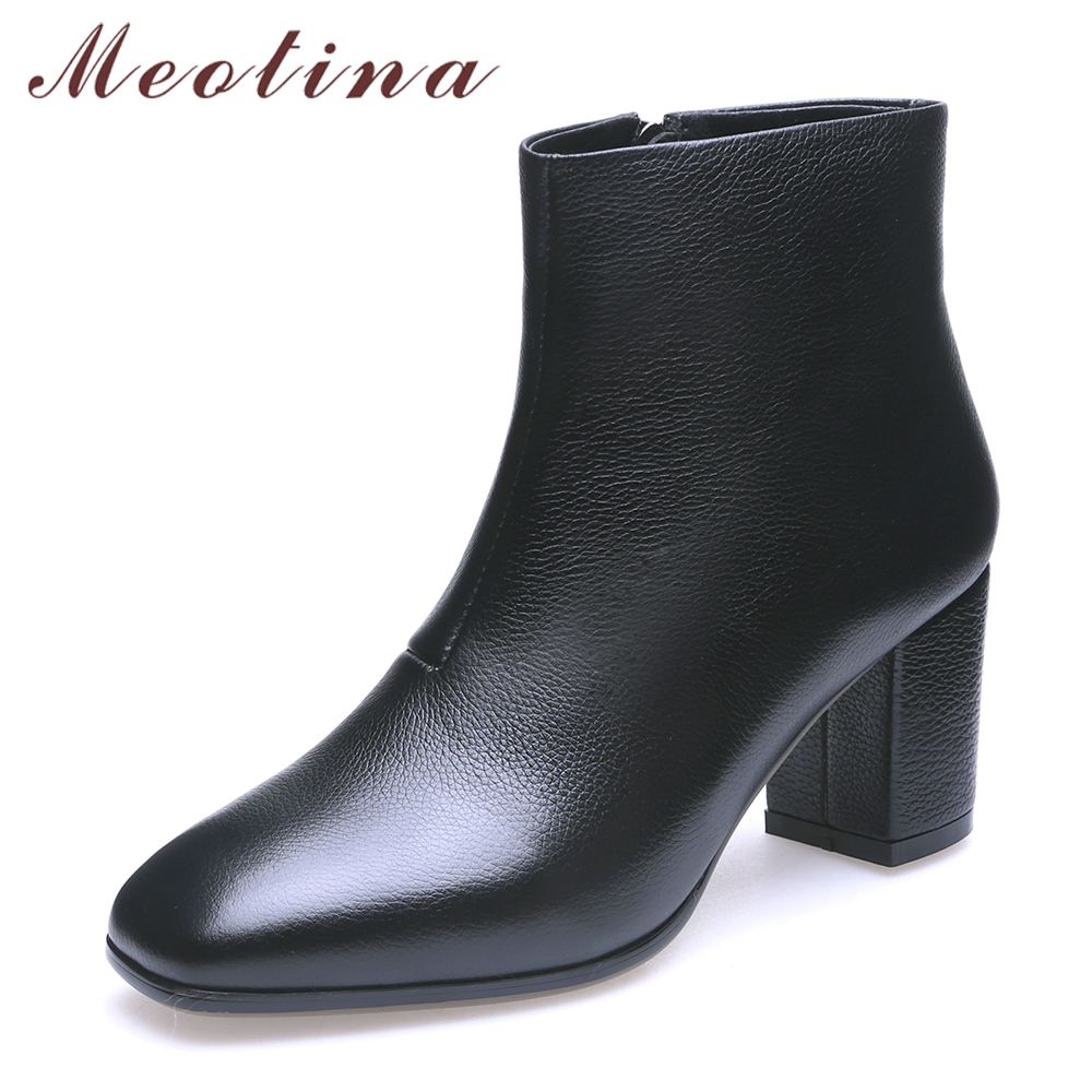 Meotina Natural Real Leather Ankle Boots Women Square High Heel Winter Genuine Leather Ladies Short Boots Zipper White Black women ankle boots pu leather short plush 7cm high thick block heel square toe white zipper winter black casual office lady boots