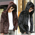 2017 Retro Elegant Winter Mens Faux Fur Coat Windbreaker Slim Casual Luxury Plus Size Hooded Rabbit Fur Coat Jackets V510