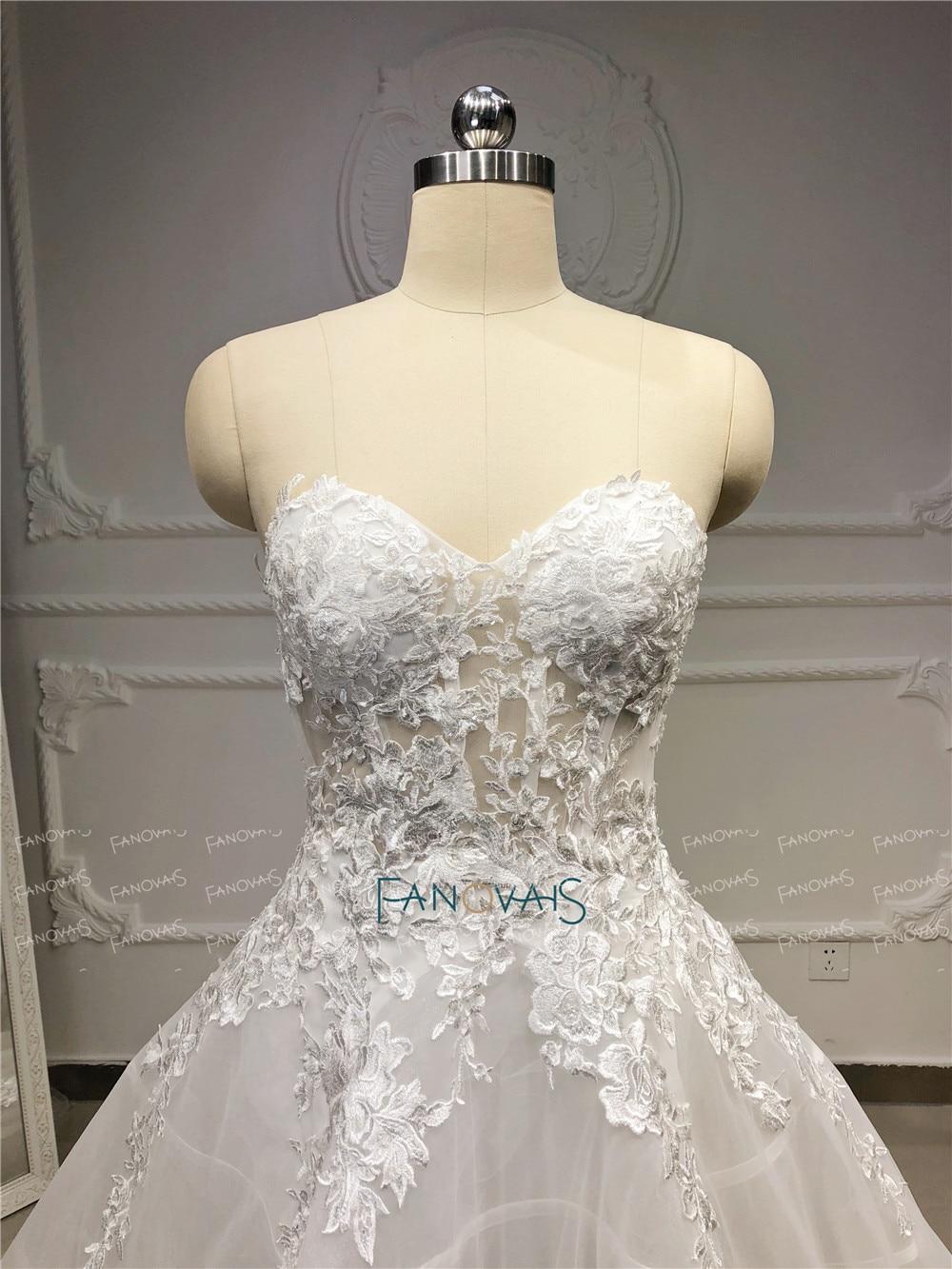 Image 4 - Unique Wedding Dresses 2019 Sweetehart A Line Lace Wedding Gown Boho Sheer Bridal Dress Wedding Vestido de Novia 2019 NW43Wedding Dresses   -