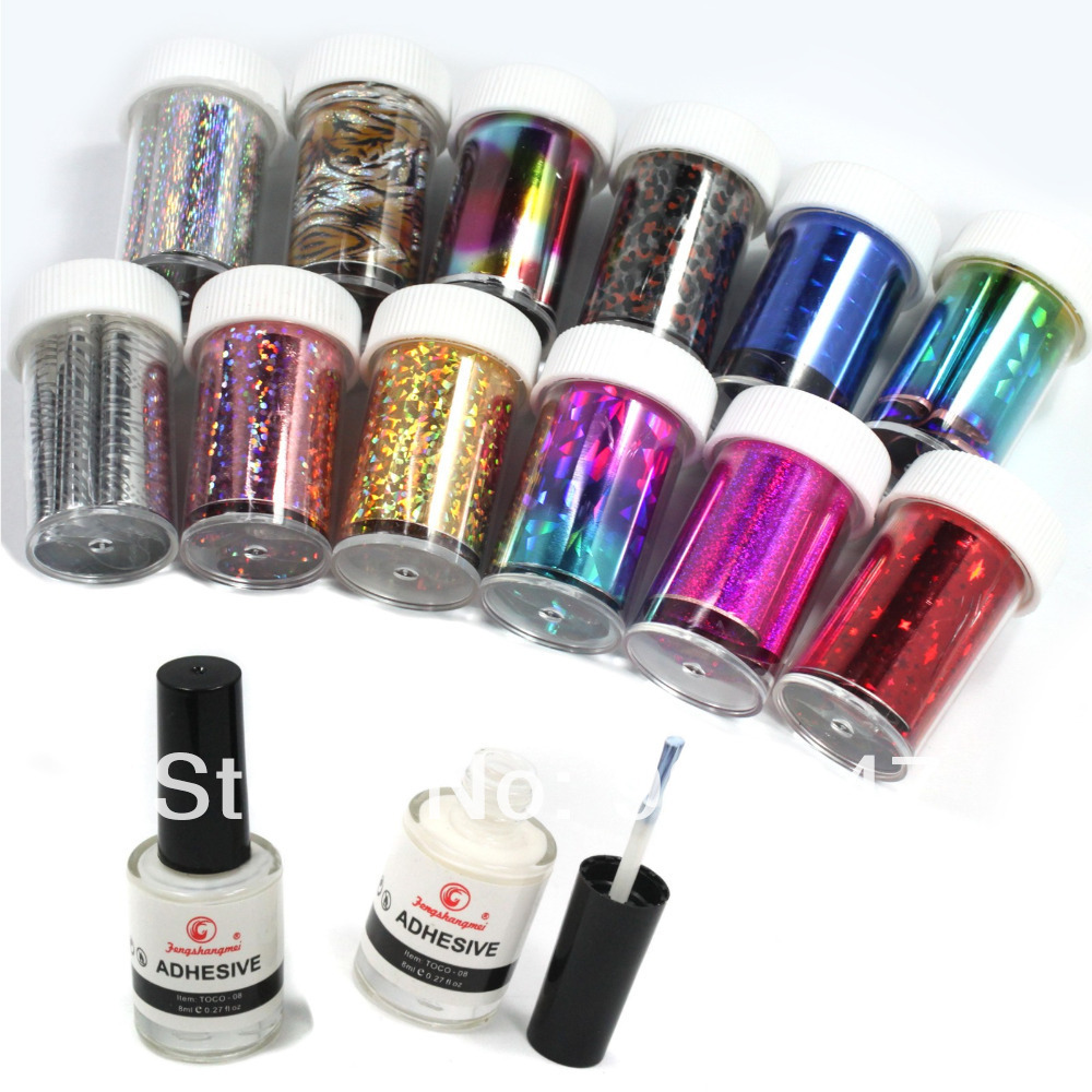 12 Colors Nail Art Transfer Foil Sticker for Nail Tips Decoration ...