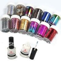 12 Colors Nail Art Transfer Foil Sticker For Nail Tips Decoration 2 Glue Set