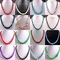 "Free Shipping Natural Stone Round Bead Amethyst Jade Goldsone Jasper Agate Turquoise Malachite Azurite Garnet Necklace 18"" 1Pcs"