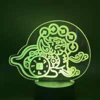Ha condotto la Luce di Notte Cinese Mitico Hybrid Creature Chimera Pixiu Denaro Potente Protezione Animale Soggiorno Lampada Decorativa 3d