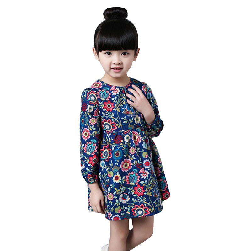 Autumn Baby Girl Dress Long Sleeve Floral Dress Casual Party Dresses Kids Clothes