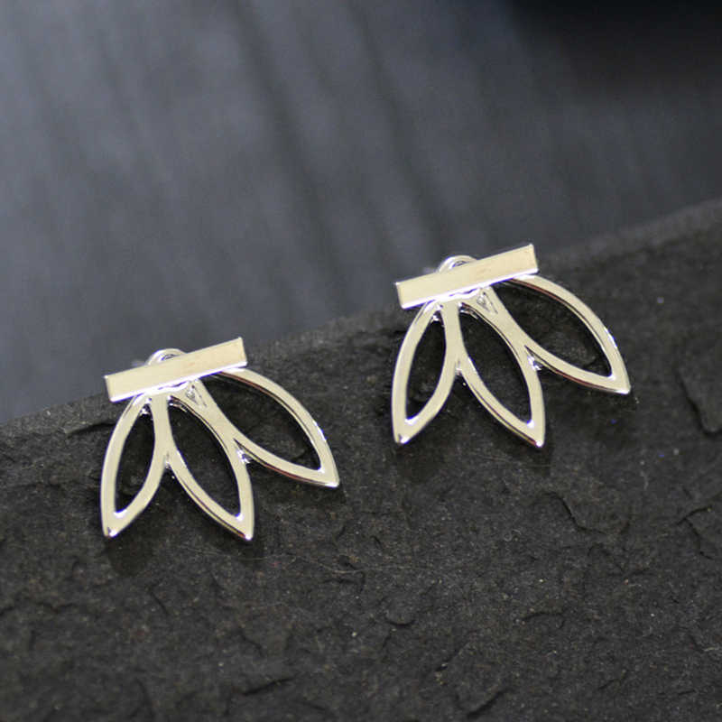 Mossovy Silver Leaf Earrings for Women Fashion Ear Cuff Gold Clip on Earrings Female Jewelry Brincos Pendientes Mujer Moda 2019