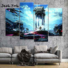 Canvas Painting Star Wars Movie posters for teens boys 4 Pieces Wall Art Painting Framed Gallery wrap art print wall decor цена