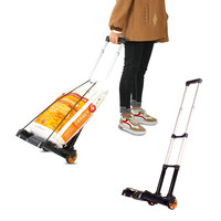 Aluminum alloy portable luggage cart Household folding shopping cart trolley cart Travel trolley small trailer