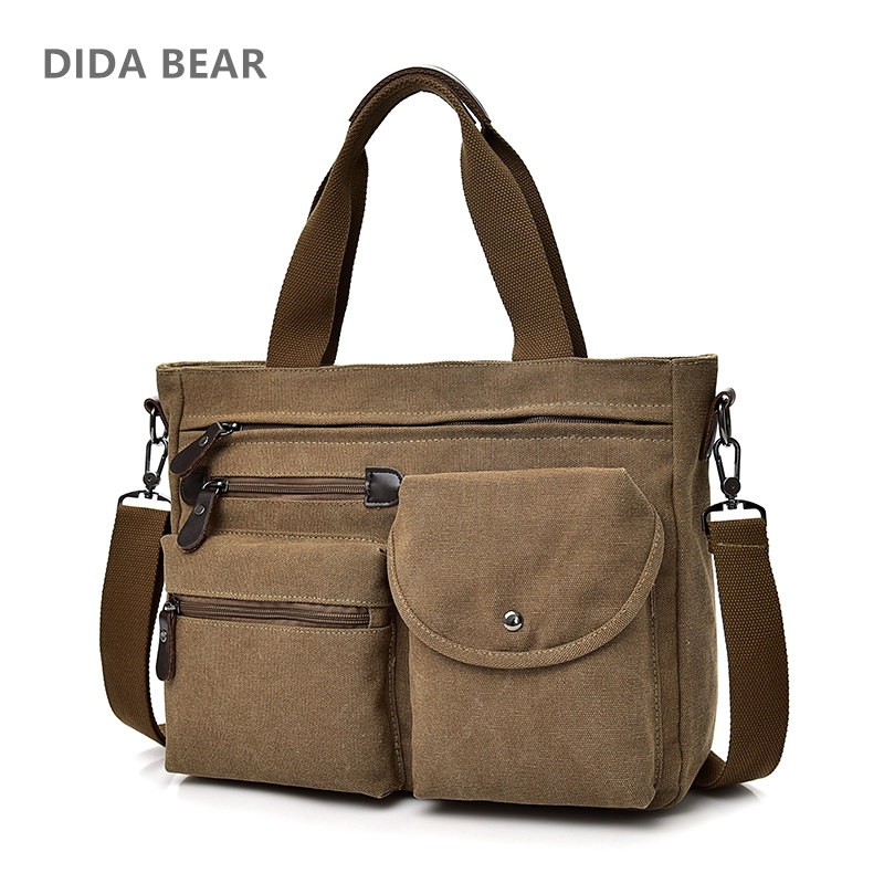 DIDA BEAR Men handbags Canvas Shoulder Bag Big Space Messenger Bags Male Crossbody Bag for Travel School Books Unisex Girls Bag
