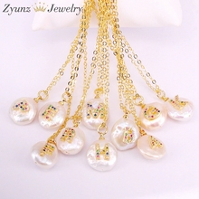 10 PCS, Rainbow cz micro pave brief charme munt zoetwater parel kraal hanger ketting