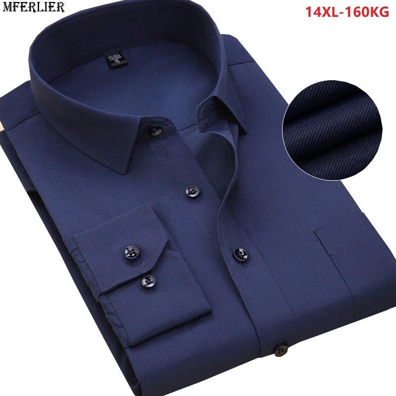 MFERLIER men formal shirt long sleeve business cotton autumn