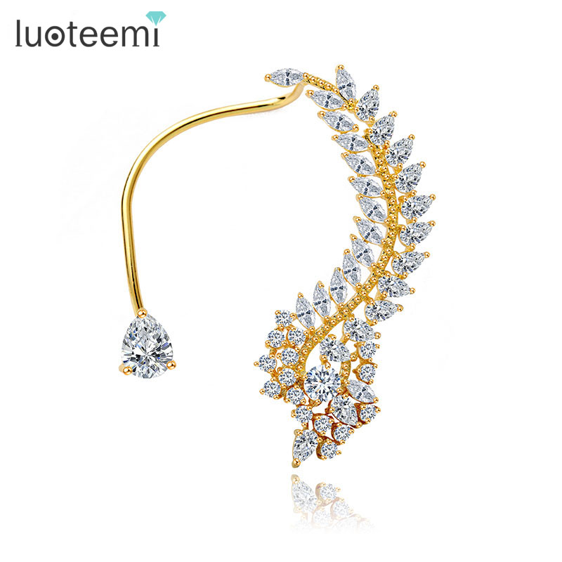 LUOTEEMI Declaración de moda de color dorado Elegante Vintage Punk Gótico Imitación CZ Crystal 1PC Ear Cuff Wrap Earrings