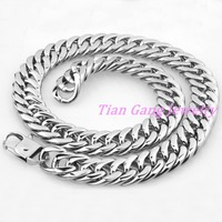 Durable 18mm Wide Heavy Huge Large Big Men Silver Stainless Steel Necklace Chunky Link Chain 7
