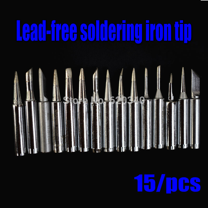 15/pcs High Quality Lead-free Solder Tip Set Soldering Station Iron Tip 900M-T Soldering Station Tool Kit For 936 Free Shipping