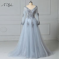 ADLN Sexy Backless Grey Evening Dresses Long Sleeves A Line Tulle Lace Party Gown With Flowers