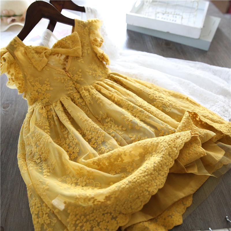 2019 Summer Girls Dress Kids Embroidery Lace Dresses Princess Girl Party Wedding Gowns Baby Girls Clothes Children Casual Wear 1