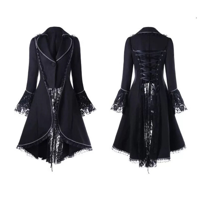 Women Black & Red Vintage Steampunk High Collar Lace Slim Jacket Elegant Back Lace-Up Swallow High Low Tail Coat For Ladies 2XL