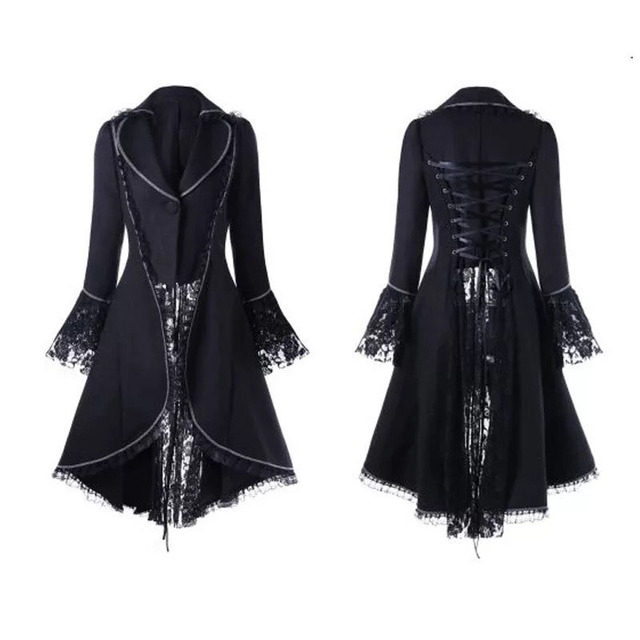 392d69844 Women Black & Red Vintage Steampunk High Collar Lace Slim Jacket Elegant  Back Lace-Up Swallow High Low Tail Coat For Ladies 2XL