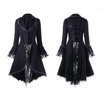 Women Black & Red Vintage Steampunk High Collar Lace Slim Jacket Elegant Back Lace Up Swallow High Low Tail Coat For Ladies 2XL