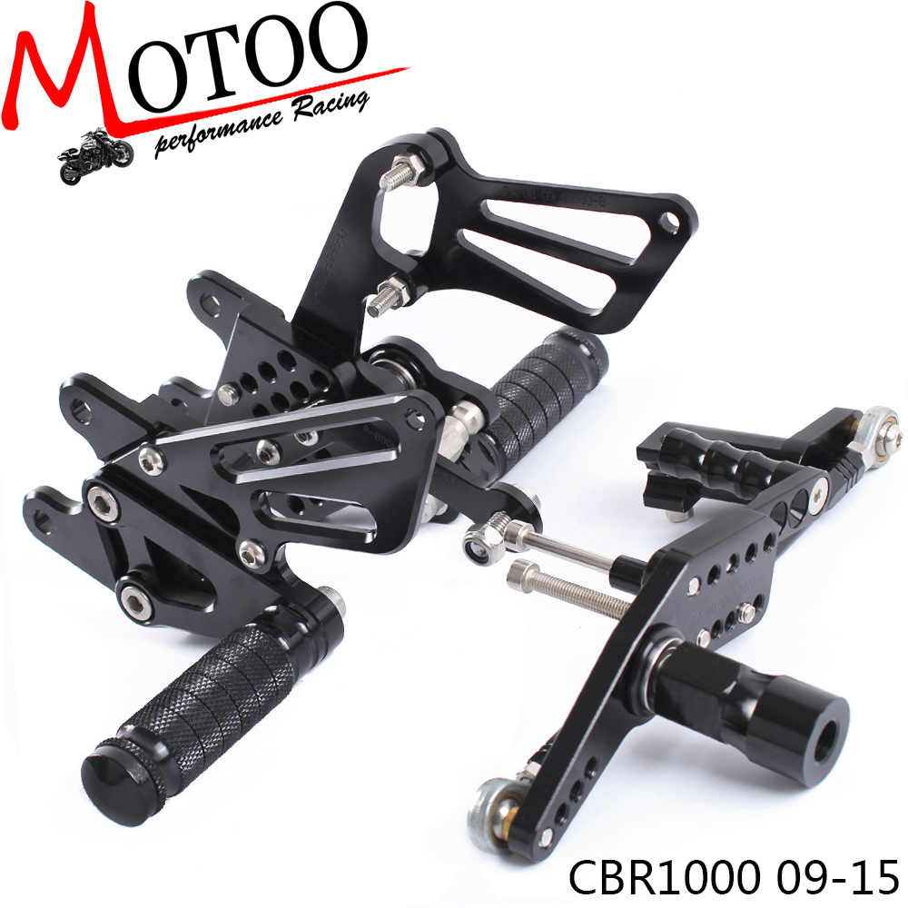 Motoo Full CNC Aluminum Motorcycle Adjustable Rearsets Rear Sets Foot Pegs For HONDA CBR1000RR ABS CBR