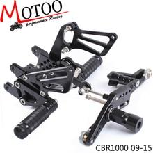Motoo   Full CNC Aluminum Motorcycle Adjustable Rearsets Rear Sets Foot Pegs For HONDA CBR1000RR ABS CBR 1000RR 2009 2015
