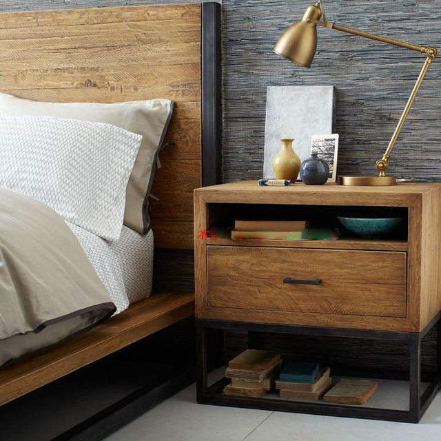 LOFT American Country Upscale Retro Nightstand Solid Wood Furniture, Wrought  Iron Side Tables Coffee Table